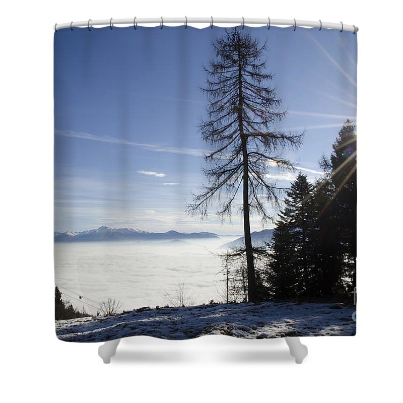 Sea Of Fog Shower Curtain featuring the photograph Sea Of Fog Over An Alpine Lake by Mats Silvan