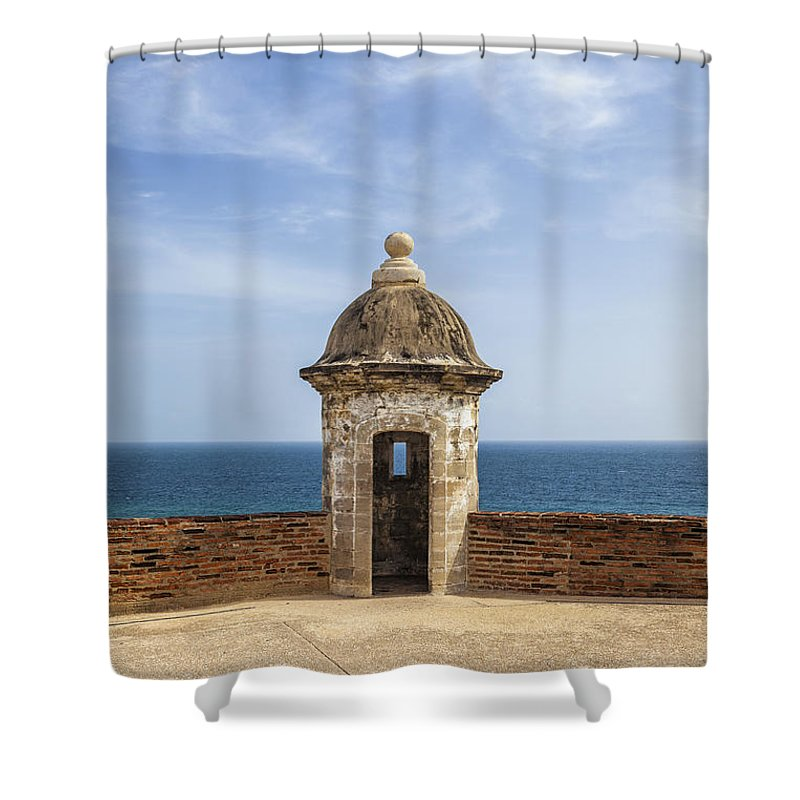 Built Structure Shower Curtain featuring the photograph Sentry Box In Old San Juan Puerto Rico by Bryan Mullennix