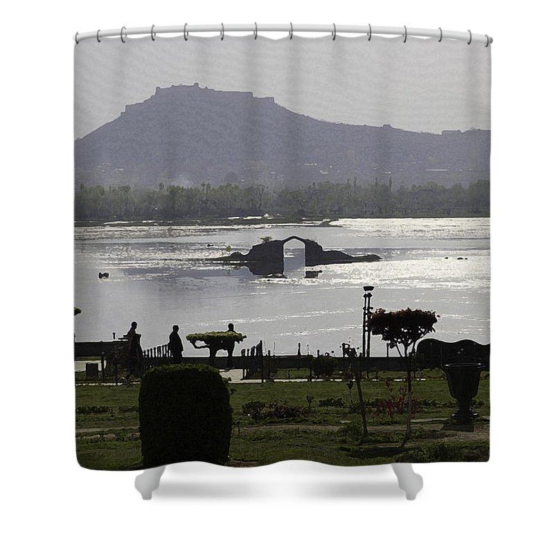 Bush Shower Curtain featuring the digital art Shalimar Garden The Dal Lake And Mountains by Ashish Agarwal