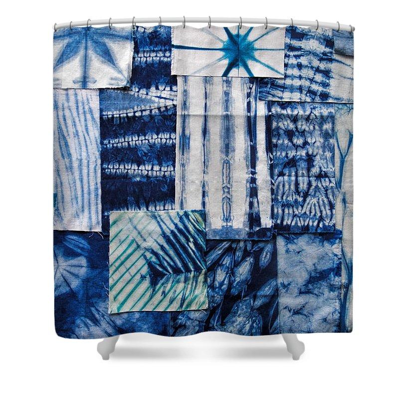 Aimee Stewart Shower Curtain Featuring The Painting Shibori Patchwork Indigo By