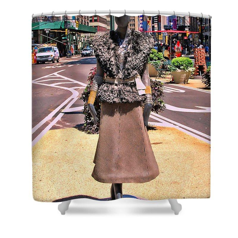 Broadway Catwalk Shower Curtain featuring the photograph Sidewalk Catwalk 12 by Allen Beatty