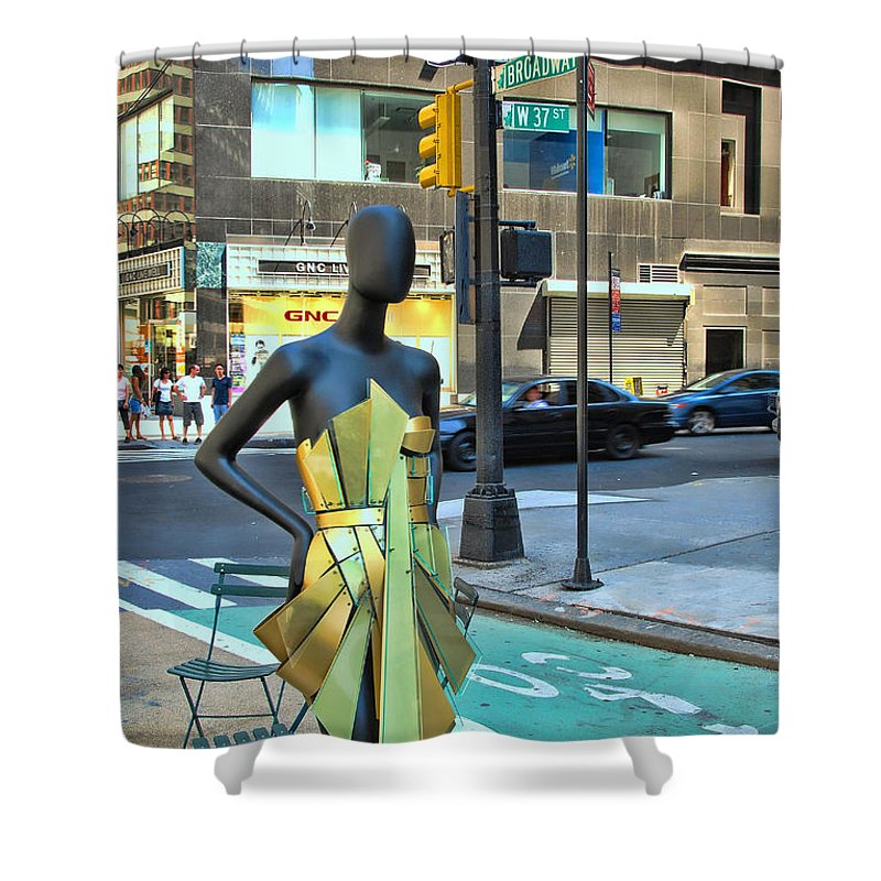 Broadway Catwalk Shower Curtain featuring the photograph Sidewalk Catwalk 14 by Allen Beatty