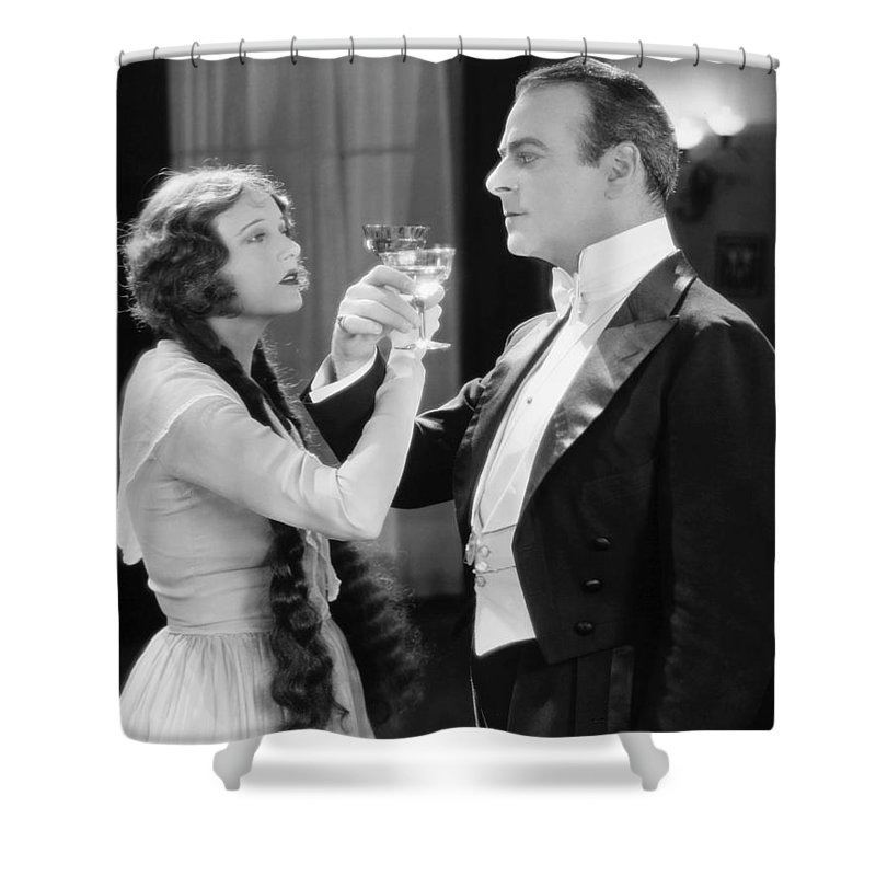1920s Shower Curtain featuring the photograph Silent Film Still: Drinking by Granger