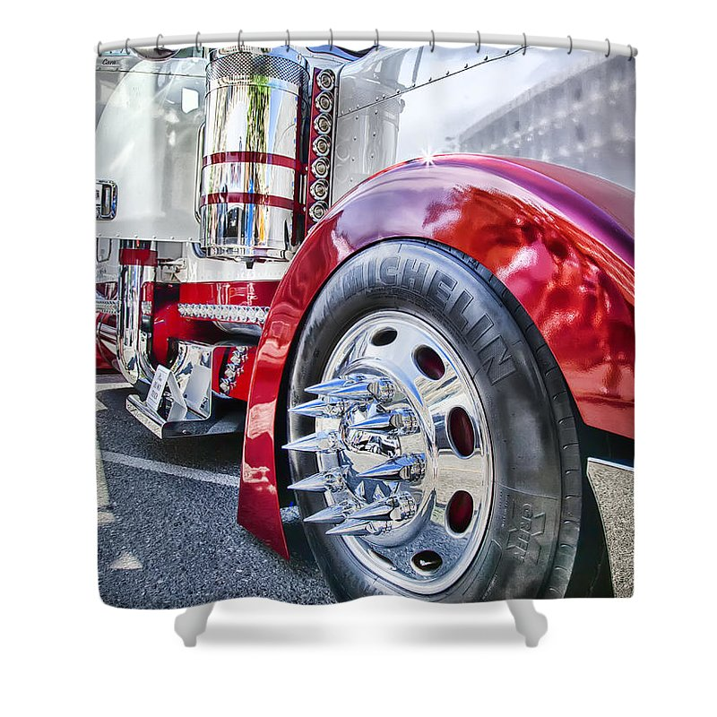 Peterbilt Shower Curtain featuring the photograph Sinister Semi by Theresa Tahara
