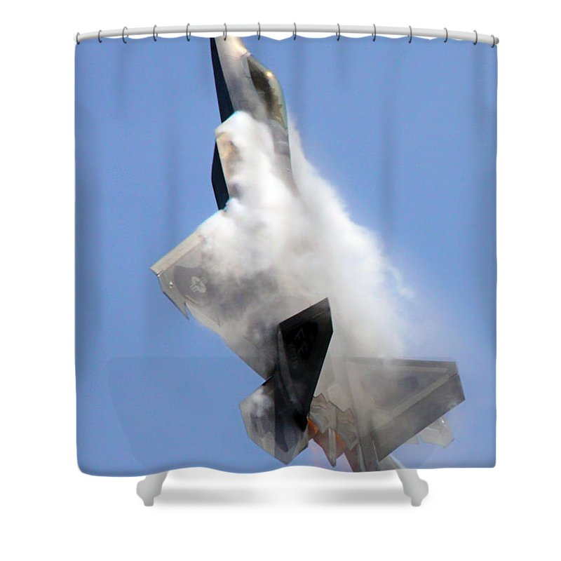 F-22 Shower Curtain featuring the photograph Soaring by Mitch Cat