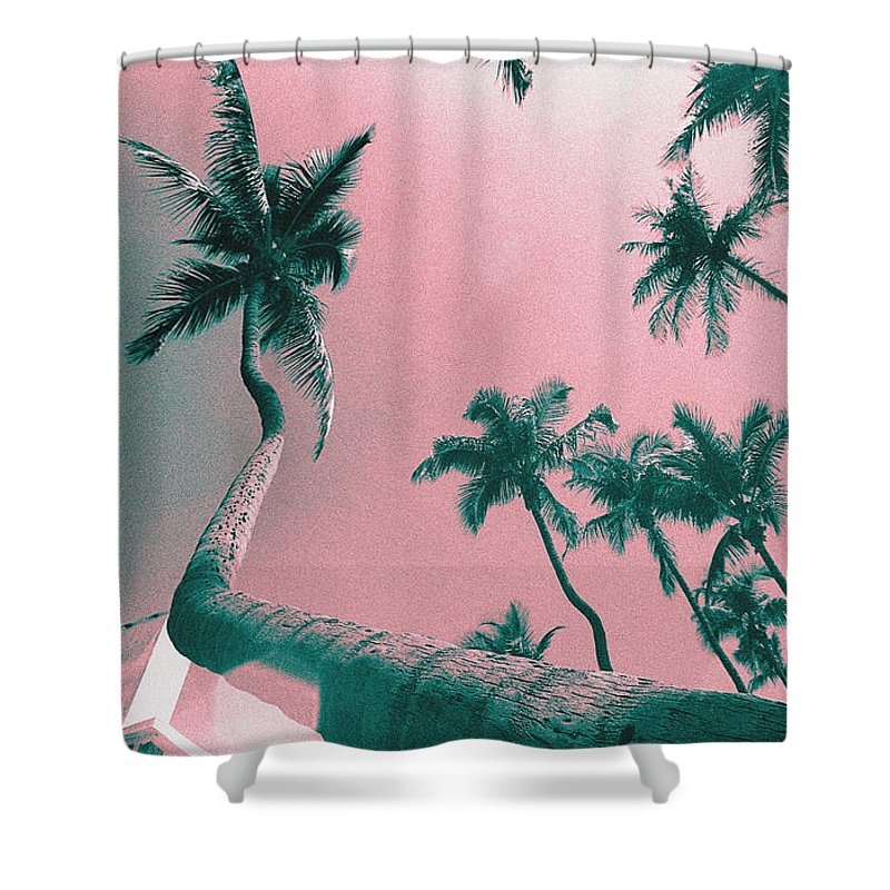 Florida Shower Curtain featuring the photograph South Beach Miami Tropical Art Deco Wide Palms by Steven Hlavac