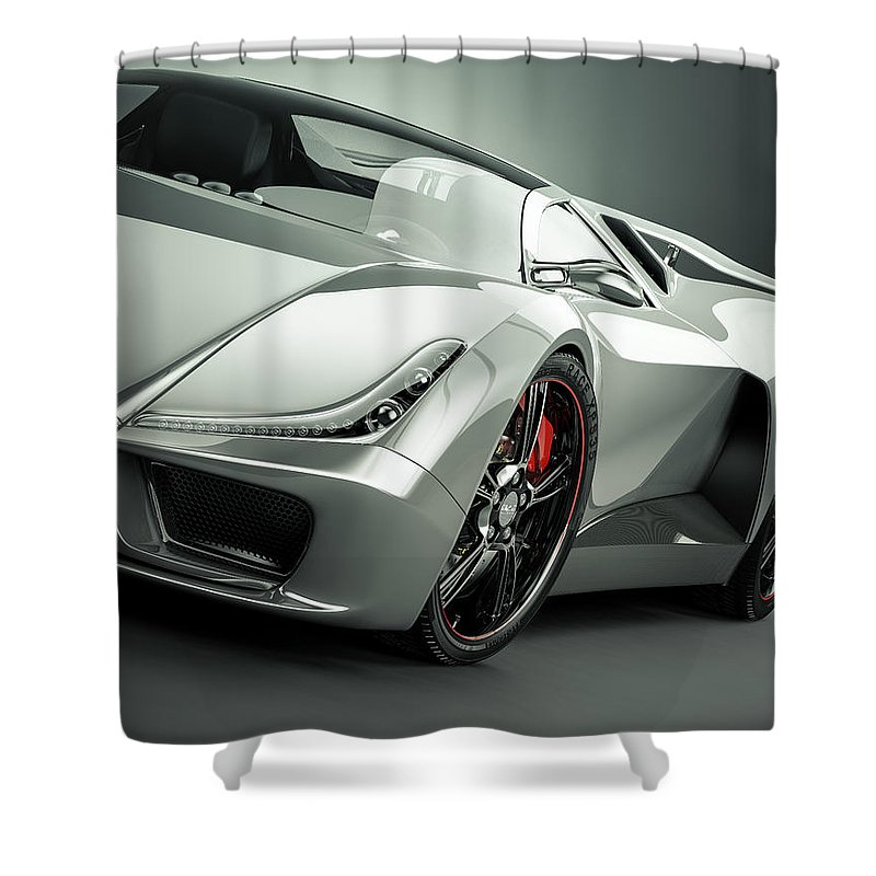Aerodynamic Shower Curtain featuring the photograph Sports Car by Mevans