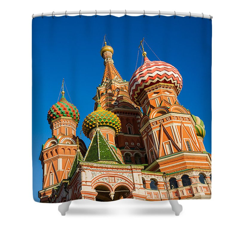 Architecture Shower Curtain featuring the photograph St. Basil's Cathedral - Square by Alexander Senin