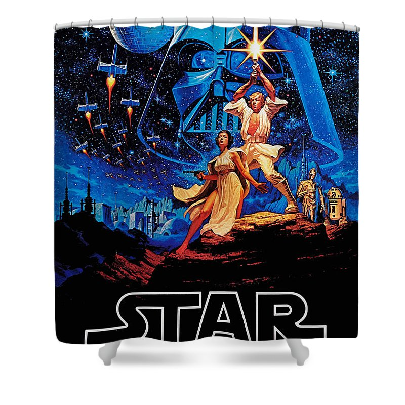 Star Shower Curtain featuring the drawing Star Wars by Farhad Tamim
