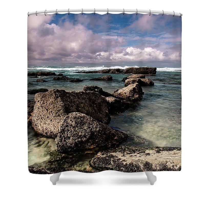 Sea water Sun Shower Curtain featuring the photograph Stone Path by Edgar Laureano