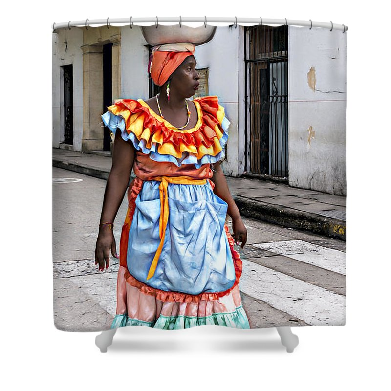 Woman Shower Curtain featuring the photograph Street Vendor by Maria Coulson