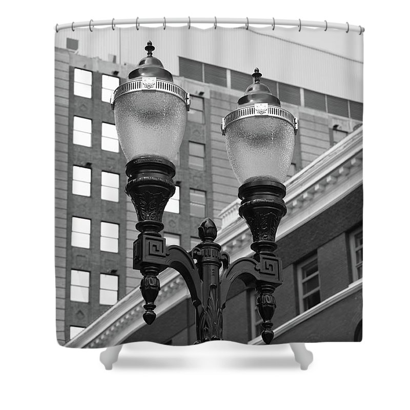 Antique Shower Curtain featuring the photograph Streetlights - Lansing Michigan by Frank Romeo