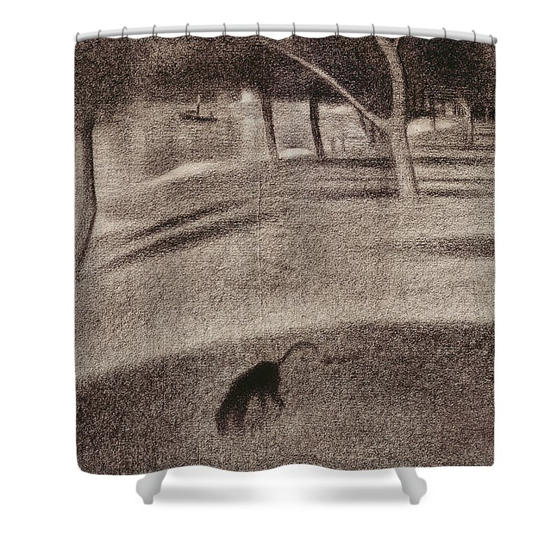 Study For Sunday Afternoon On The Island Of La Grande Jatte Shower Curtain featuring the drawing Study For Sunday Afternoon On The Island Of La Grande Jatte by Georges Pierre Seurat