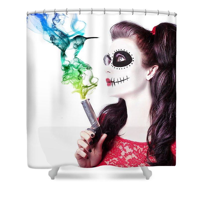 Gun Shower Curtain featuring the photograph Sugar Skull Girl Blowing On Smoking Gun by Jorgo Photography - Wall Art Gallery