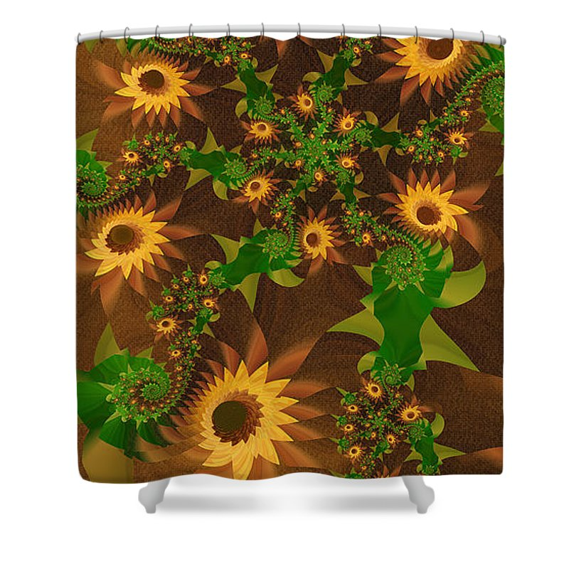 Fractal Shower Curtain featuring the digital art Summer's Last Sunflowers by Richard Kelly