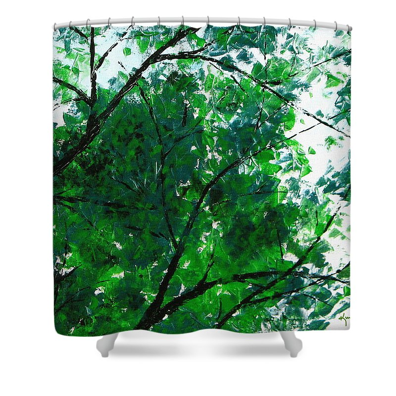 Green Leaves Shower Curtain featuring the painting Summertime 4 by Kume Bryant
