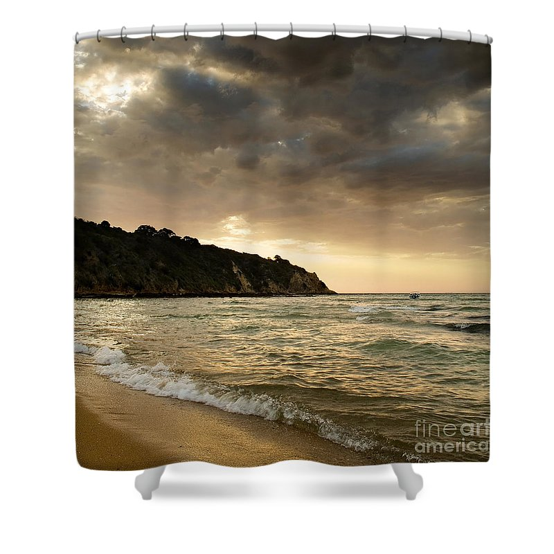 Travel Shower Curtain featuring the photograph Sunset Beach by Tim Hester