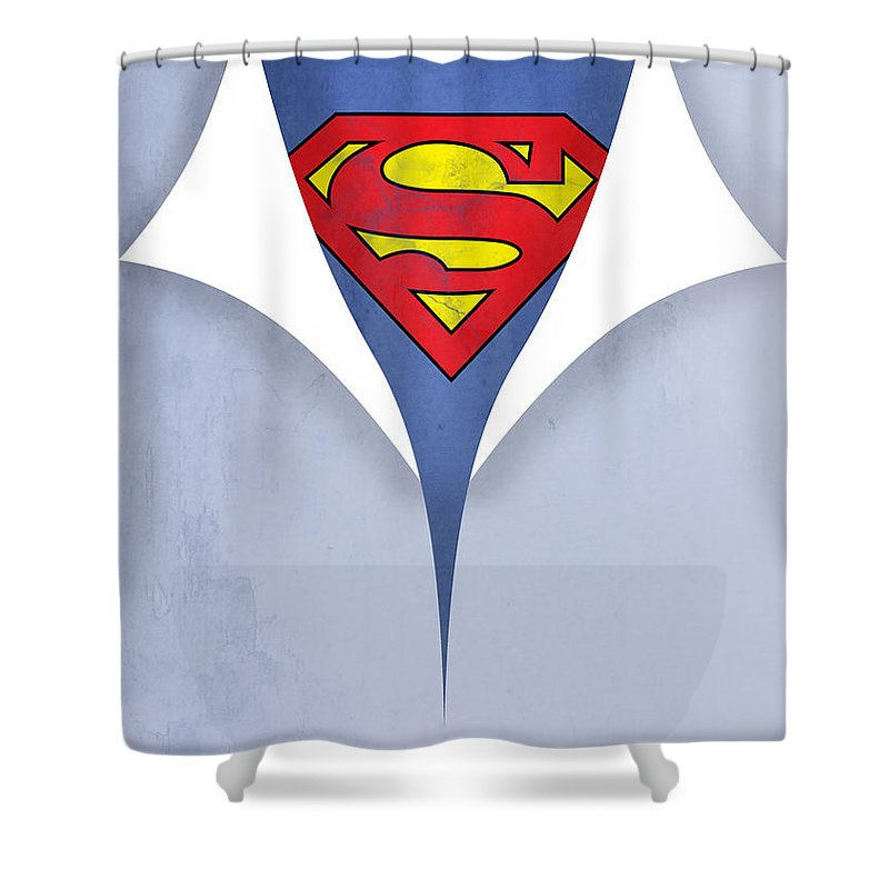Superman Shower Curtain Featuring The Painting 9 By Mark Ashkenazi