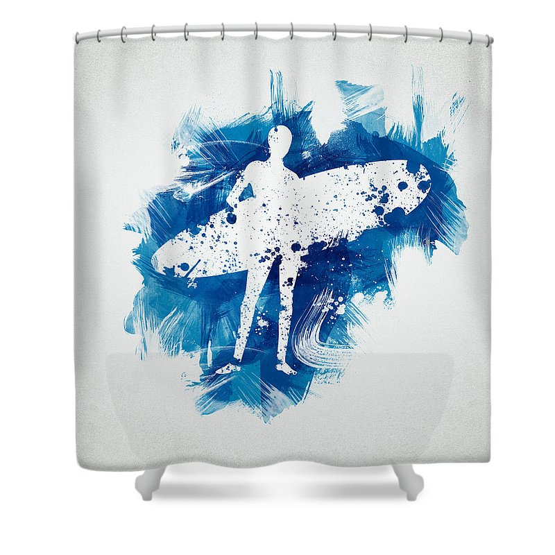 Action Shower Curtain featuring the digital art Surfer Girl by Aged Pixel