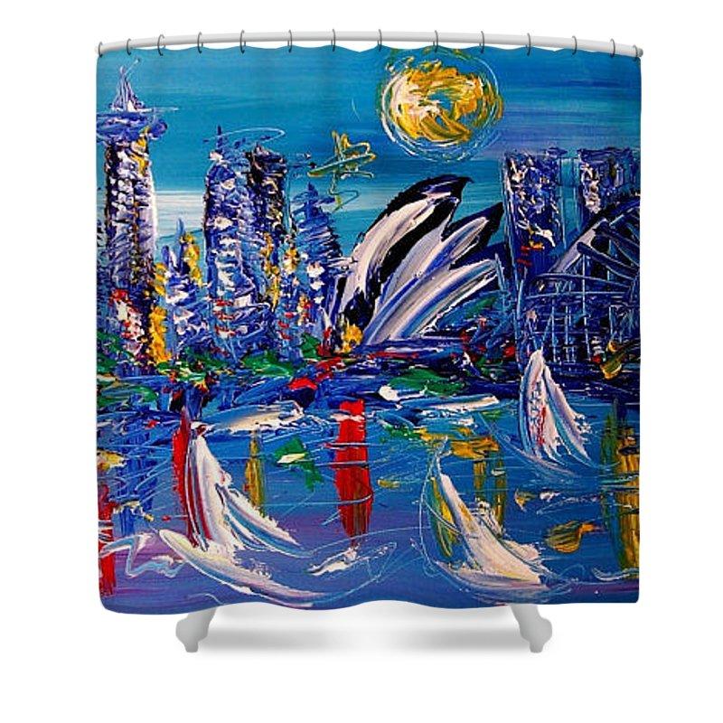 Shower Curtain featuring the painting Sydney by Mark Kazav
