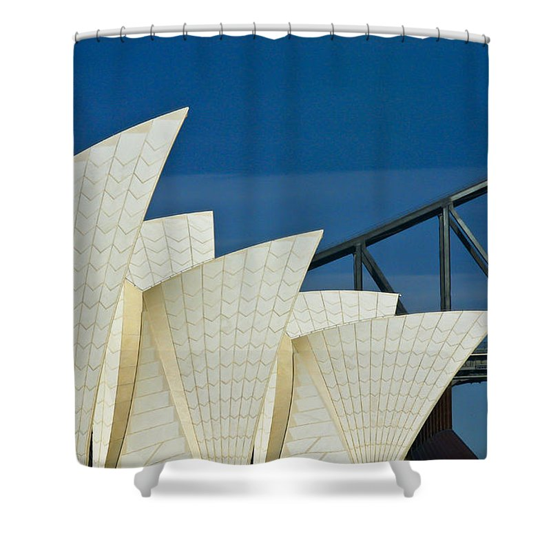 Sydney Harbour Shower Curtain featuring the photograph Sydney Opera House with Bridge backdrop by Sheila Smart Fine Art Photography