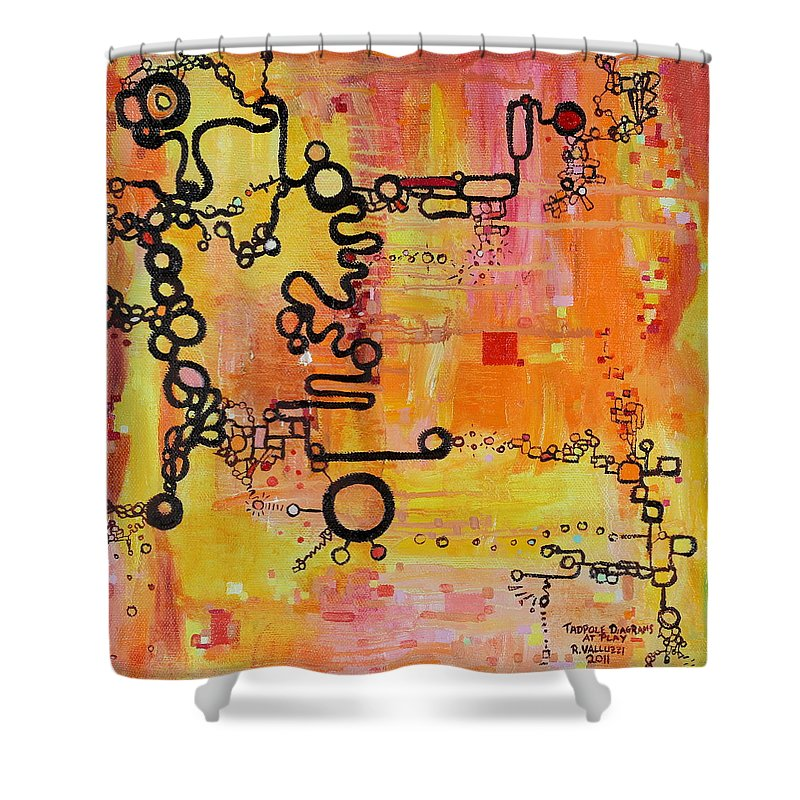 Tadpole Diagram Shower Curtain featuring the painting Tadpole Diagrams At Play by Regina Valluzzi