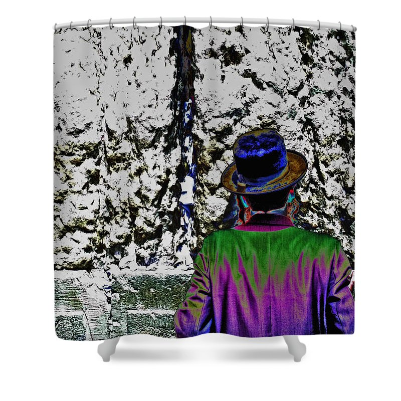 Israel Jerusalem Western Wall Wailing Wall Holy City Jews Jewish Prayer Art Color Technicolor Shower Curtain featuring the photograph Technicolor Chassid by Joseph Hedaya