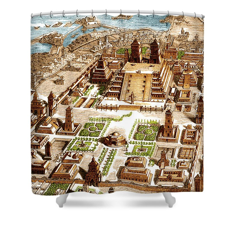 History Shower Curtain Featuring The Photograph Tenochtitlan Aztec City State By Science Source