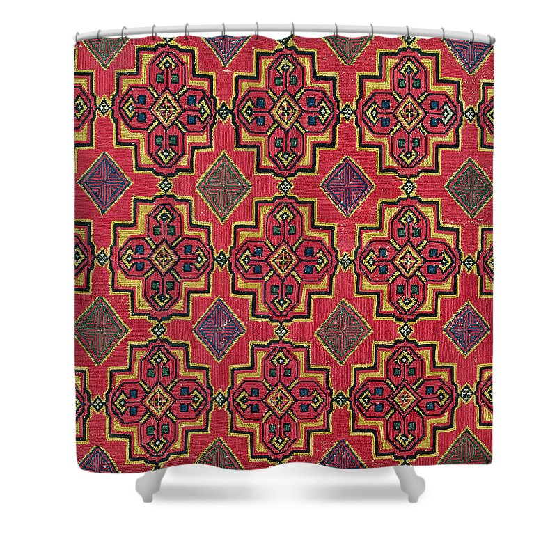 Textile With Geometric Pattern Shower Curtain For Sale By Moroccan