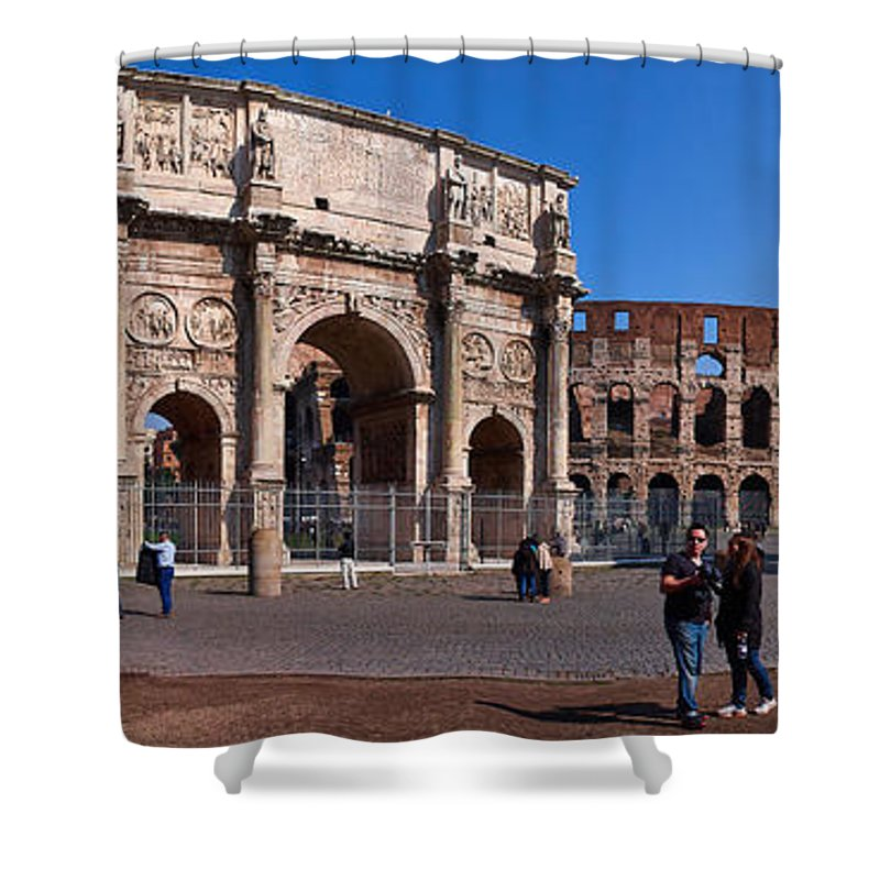 2013. Shower Curtain featuring the photograph The Arch Of Constantine And Colosseum by Jouko Lehto