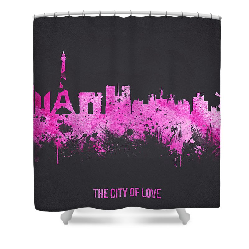 Architecture Shower Curtain featuring the digital art The City Of Love by Aged Pixel