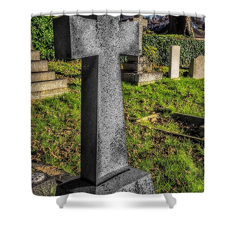 Architecture Shower Curtain featuring the photograph The Cross 1 by Adrian Evans