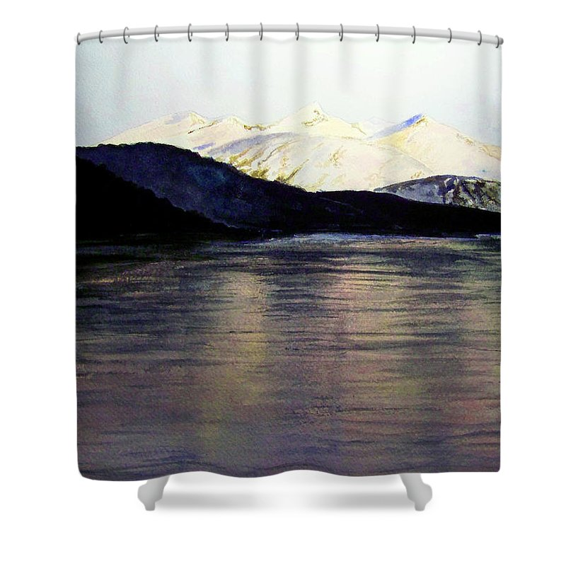 Watercolor Shower Curtain featuring the painting The Deepening Day by Brenda Owen