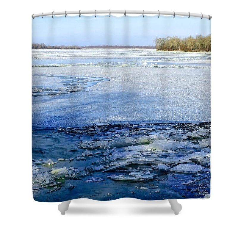 Dnieper Shower Curtain featuring the photograph The Frozen Dnieper River by Alain De Maximy