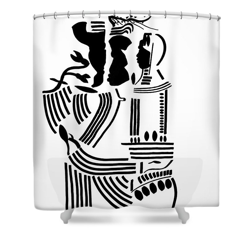 Jesus Shower Curtain featuring the drawing The Holy Family by Gloria Ssali