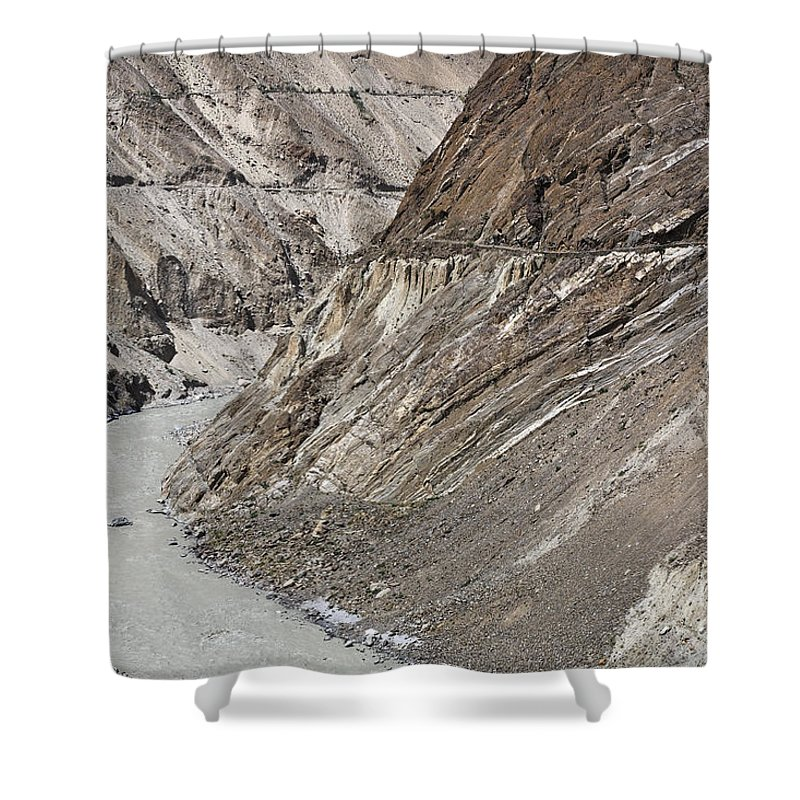 Hunza Shower Curtain featuring the photograph The Hunza River In Pakistan by Robert Preston