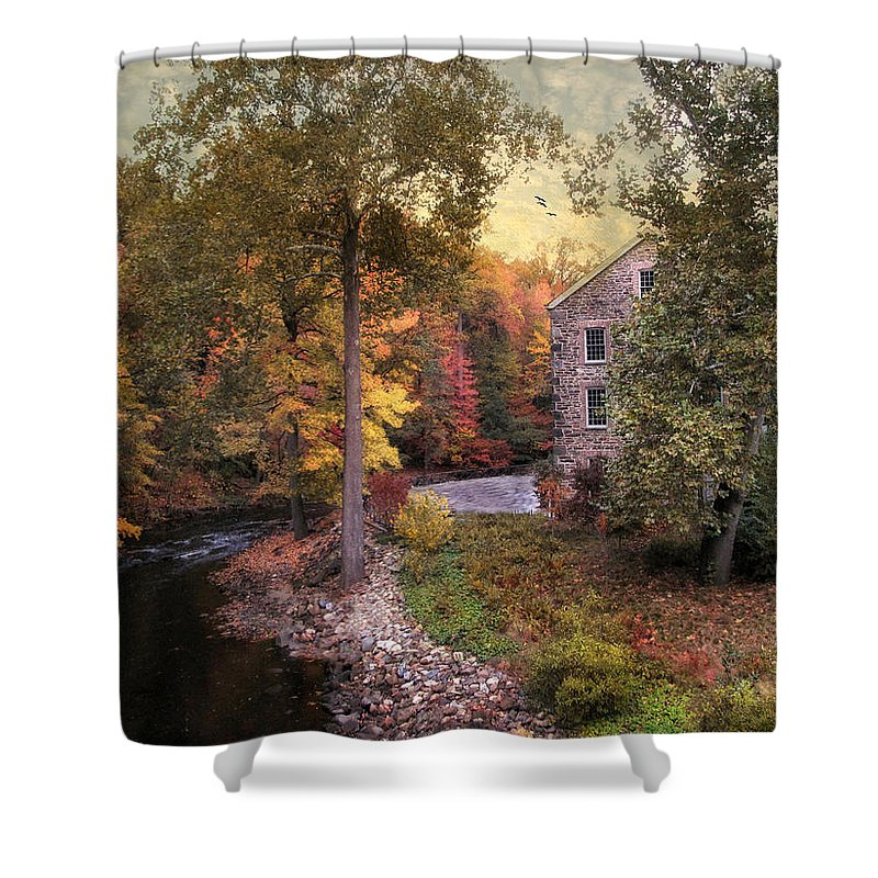 Autumn Shower Curtain featuring the photograph The Old Stone Mill by Jessica Jenney
