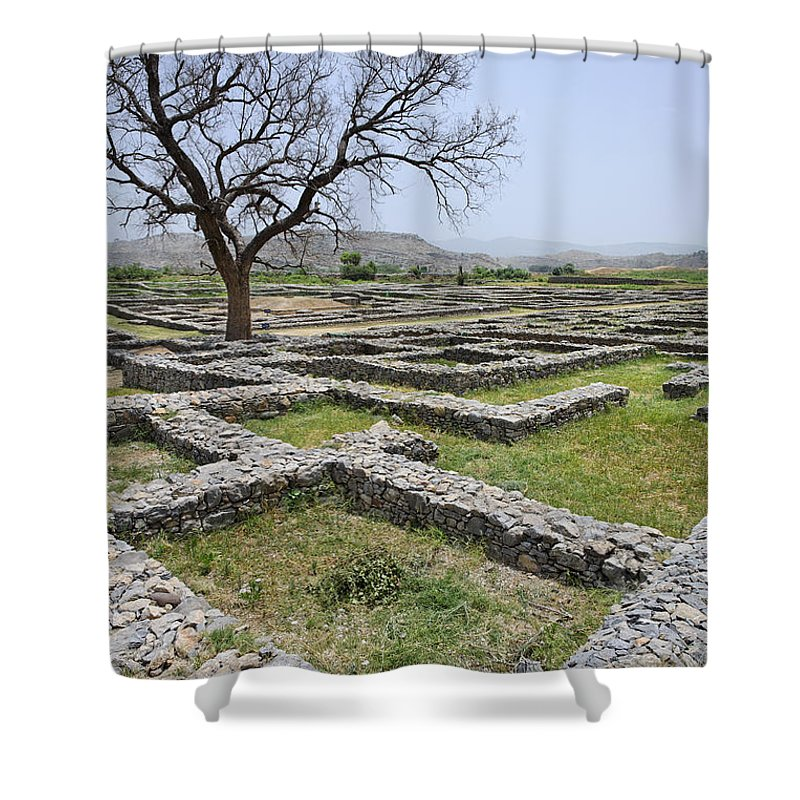 Taxila Shower Curtain featuring the photograph The Ruins Of Sirkap City At Taxila In Pakistan by Robert Preston