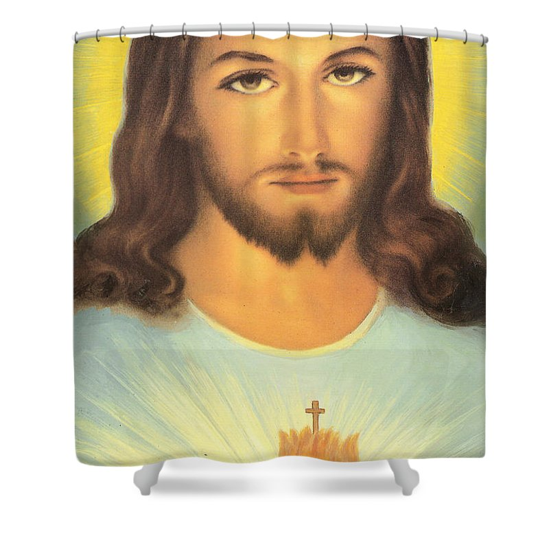 Sacred Shower Curtain Featuring The Painting Heart Of Jesus By French School