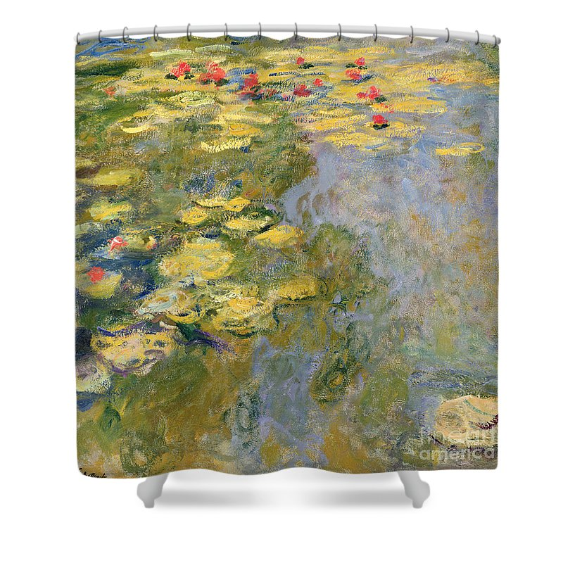 Impressionist Shower Curtain featuring the painting The Waterlily Pond by Claude Monet