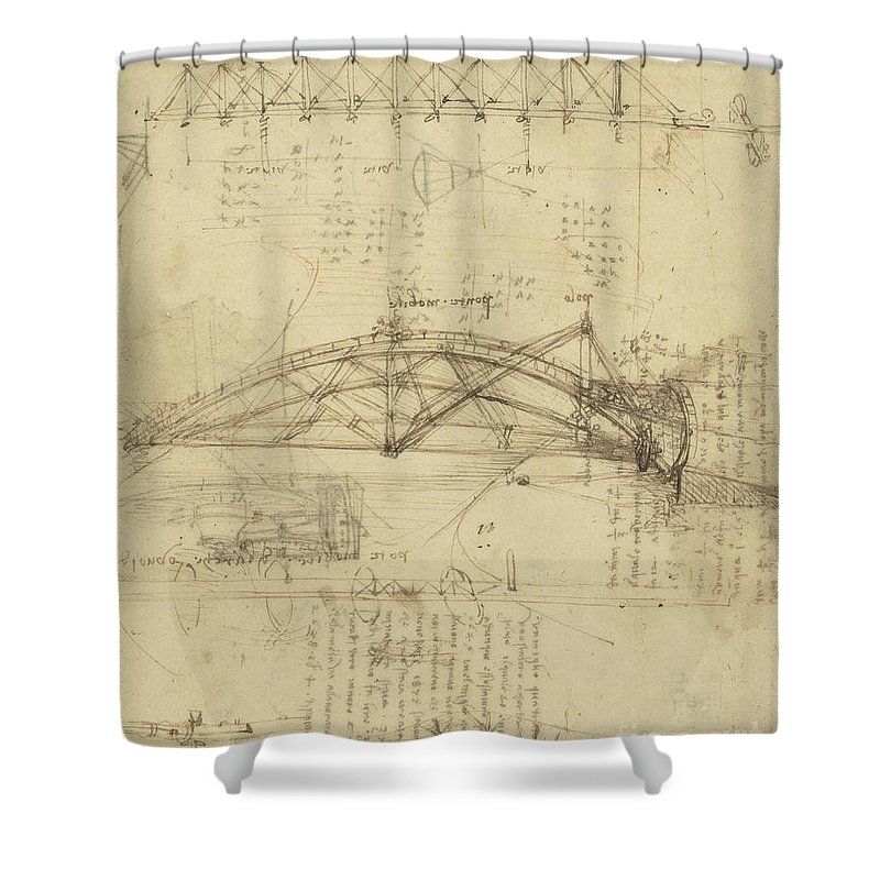 Leonardo Shower Curtain featuring the drawing Three Kinds Of Movable Bridge by Leonardo Da Vinci