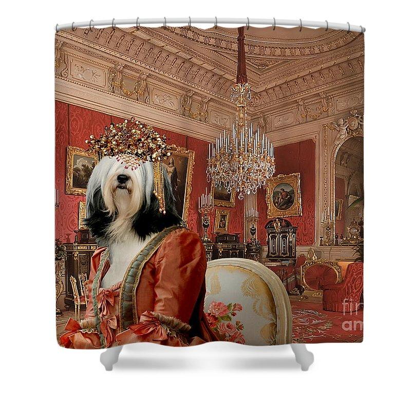 Tibetan Terrier Shower Curtain featuring the painting Tibetan Terrier Art Canvas Print by Sandra Sij