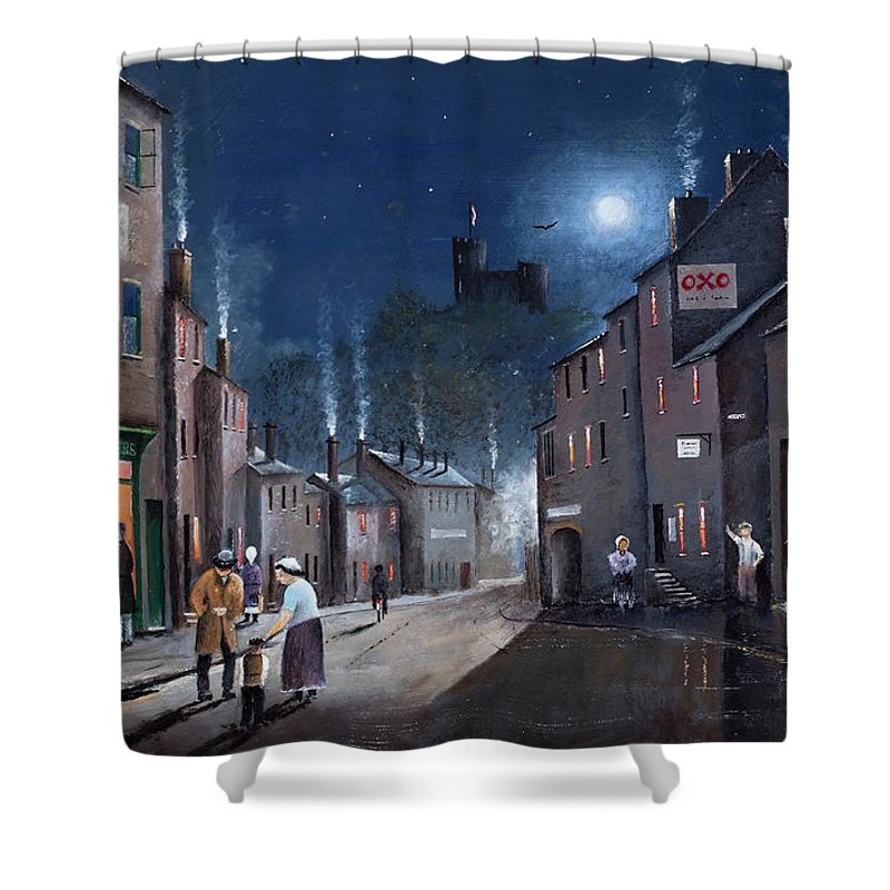 England Shower Curtain featuring the painting Tower Street Dudley C1930s by Ken Wood
