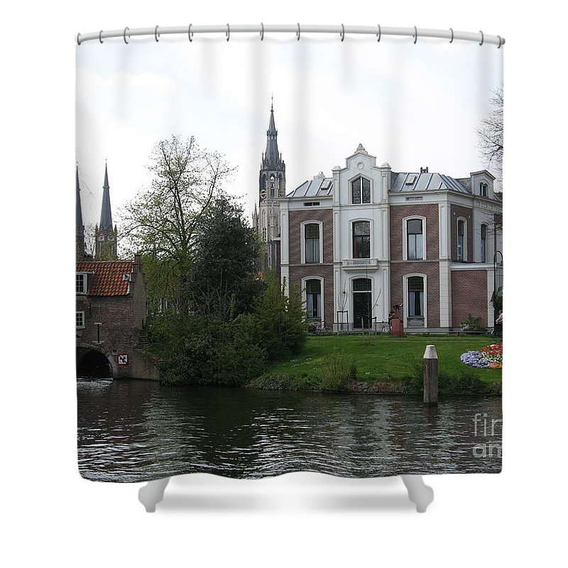 Town Canal Shower Curtain featuring the photograph Town Canal - Delft by Christiane Schulze Art And Photography