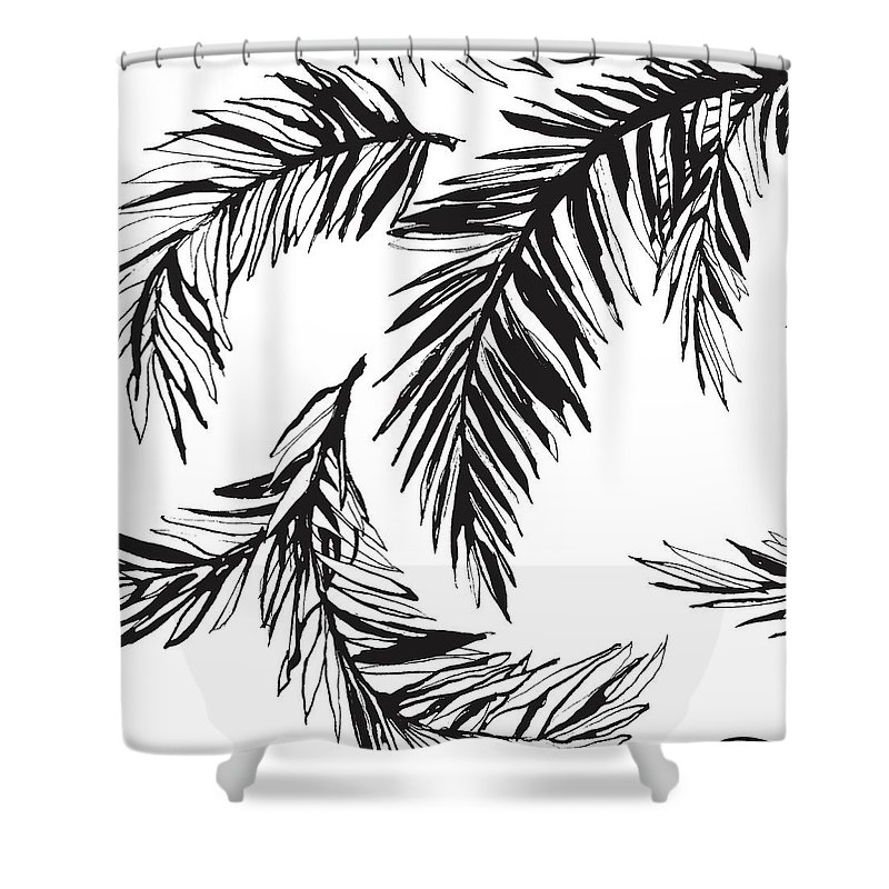 Tropical Rainforest Shower Curtain featuring the digital art Tropical Jungle Floral Seamless by Sv sunny