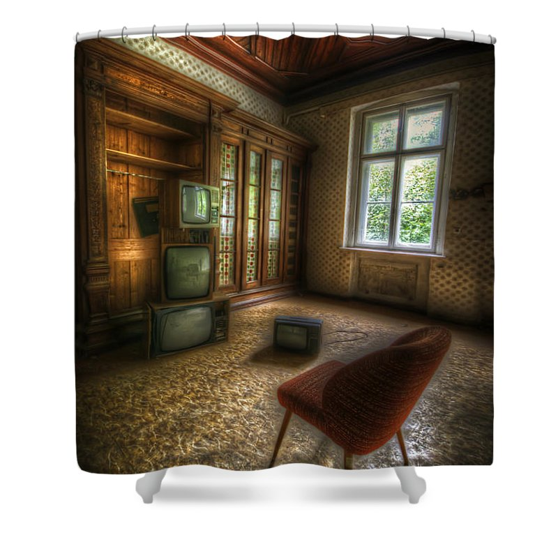 German Shower Curtain featuring the digital art Tv Room by Nathan Wright