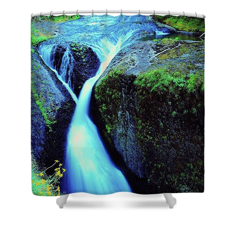 Water. Running Water Shower Curtain featuring the photograph Twister Falls by Jeff Swan
