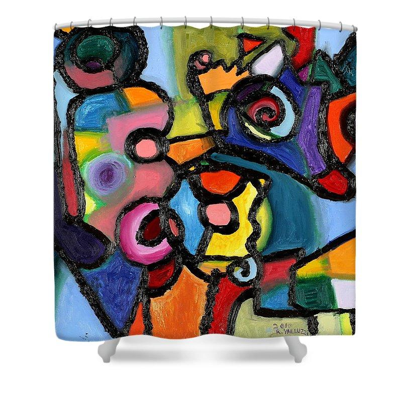 Quantum Mechanics Shower Curtain featuring the painting Uncertainty Principle by Regina Valluzzi
