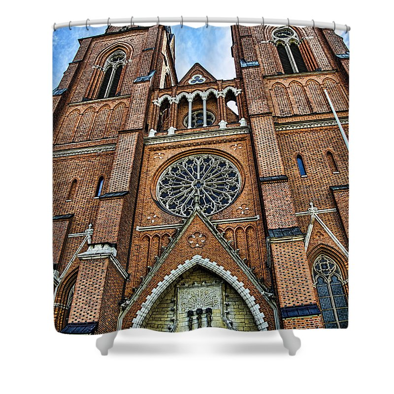 Botany Shower Curtain featuring the photograph Uppsala Cathedral - Sweden by Jon Berghoff