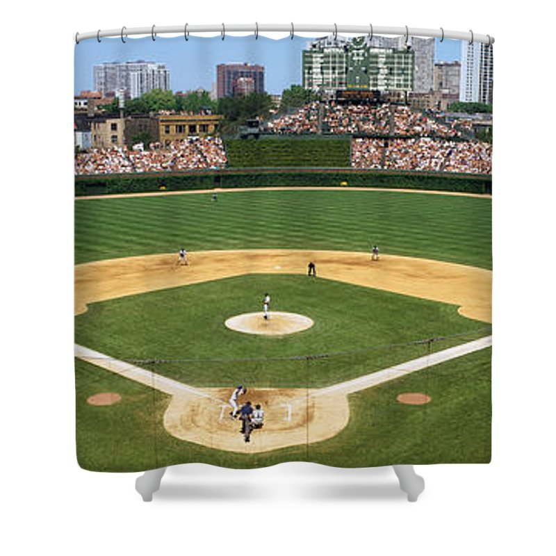 Photography Shower Curtain featuring the photograph Usa, Illinois, Chicago, Cubs, Baseball by Panoramic Images